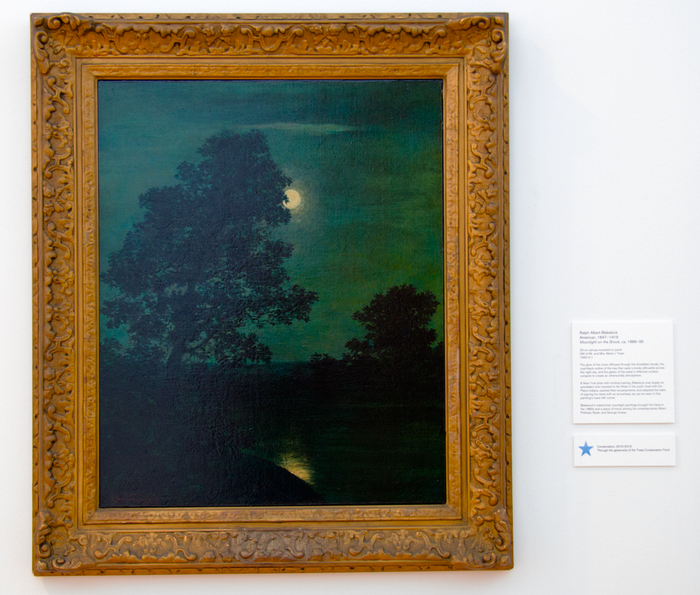Ralph Albert Blakelock. Moonlight on the Brook, ca. 1886-95. Oil on canvas, mounted on panel. Gift of Mr. And Mrs. Merle J. Trees. 1940-3-1; 2015-2016 Conservation made possible through the generosity of the Trees Conservation Fund