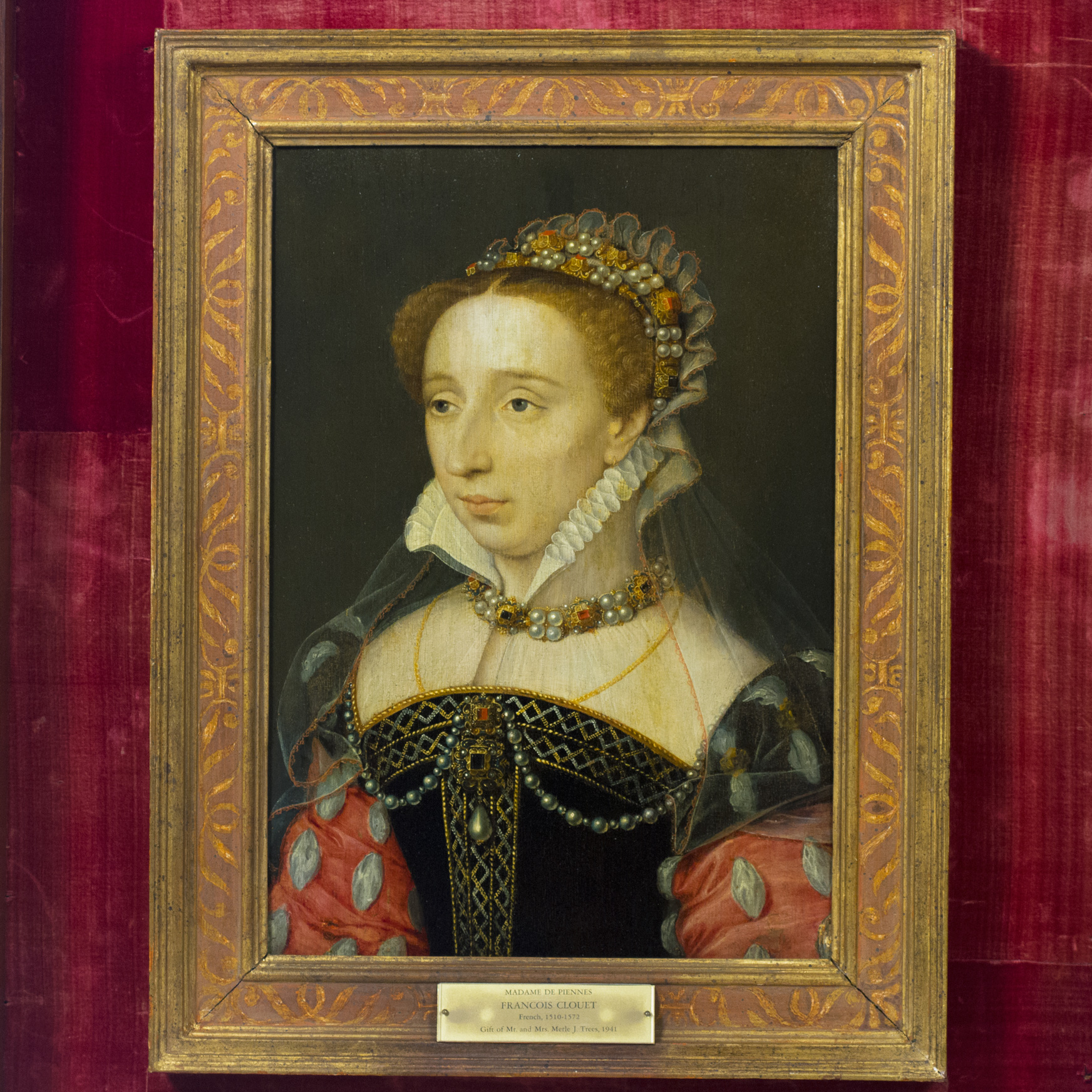 François Clouet. Portrait of Diane of France, Daughter of King Henri II, ca. 1555. Oil on panel. Gift of Merle J. and Emily N. Trees, 1941-1-1.
