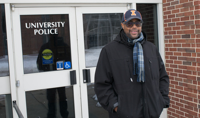Dementro Powell in front of the U. of I. Public Safety Building on Feb. 17, 2021.