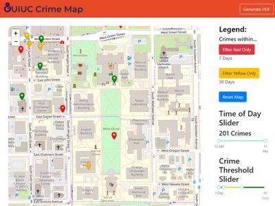 Screenshot of UIUC Crime Map