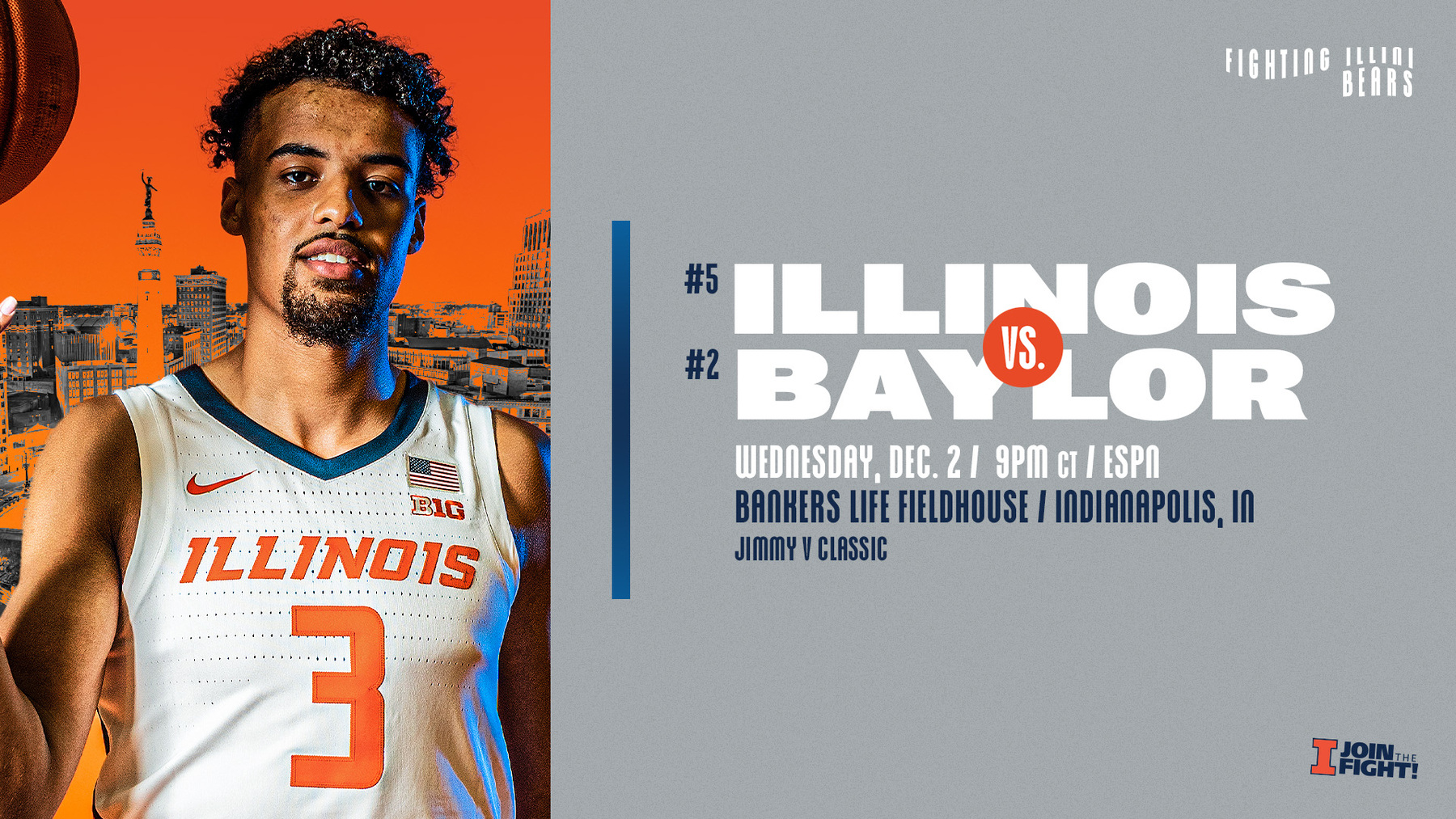 graphic for Baylor matchup features Illini forward Jacob Grandison