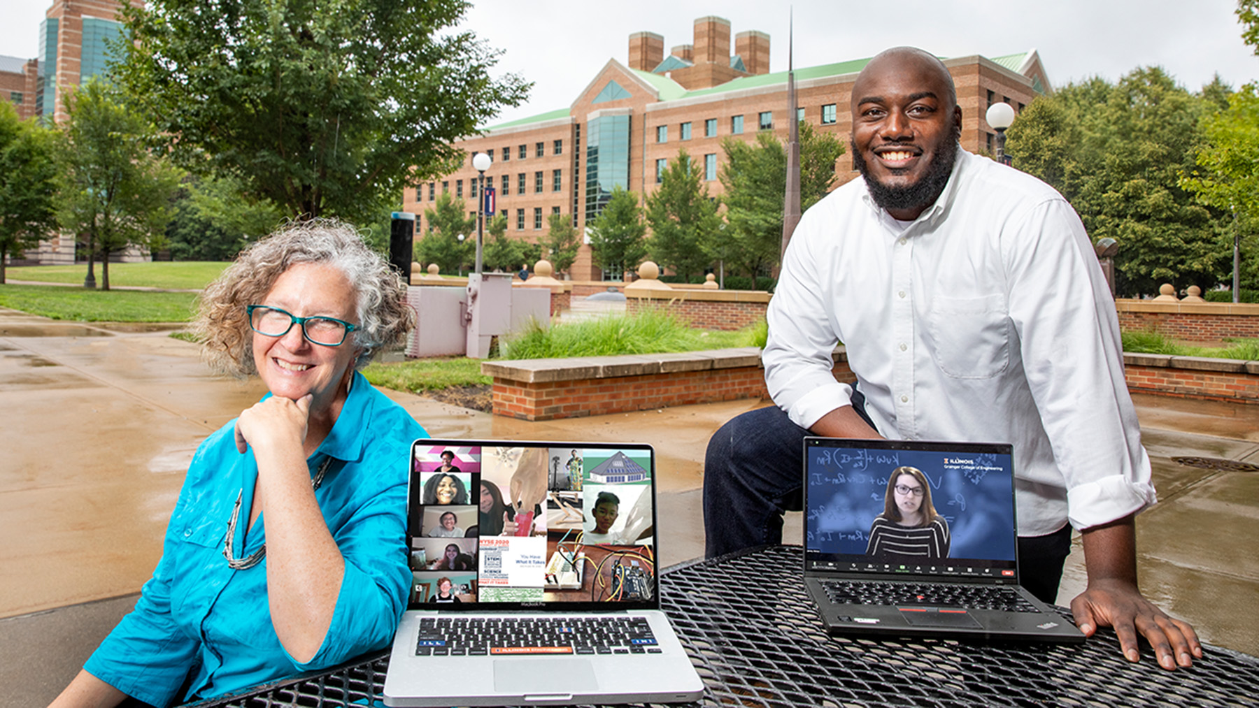 Outreach and public engagement coordinator Lara Hebert, left, postdoctoral research associate Gabriel Burks, and bioengineering professor Jennifer Amos  (shown on laptop screen, right), developed a virtual summer camp that gave about 500 high school students across the U.S. the opportunity to sample 12 engineering disciplines. Photo illustration by Fred Zwicky