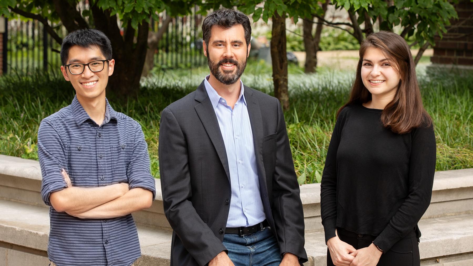 graduate student Matthew Chan, professor David Flaherty and graduate student Zeynep Ayla. Photo by Brian Stauffer
