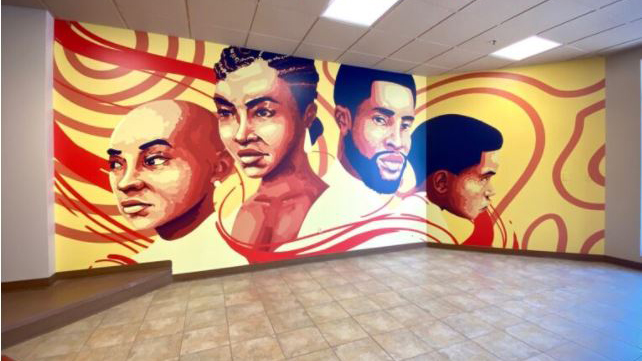 wall covered with mural, 'Year 401' by Keenan Dailey