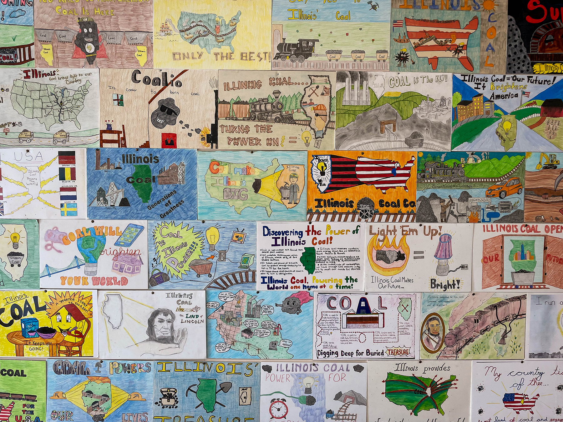 children's drawings displayed at the Illinois Coal Museum