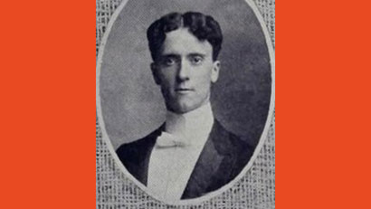 """Robert Clayton """"Red"""" Matthews served as the University of Illinois' first cheerleader from 1899 to 1900. Image of Matthews from the 1902 Illlio yearbook"""