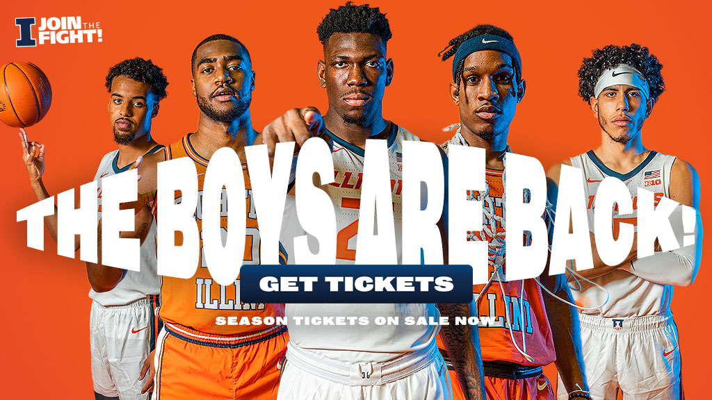 """five returning players to the Illini squad, graphic text """"The Boys are Back"""""""
