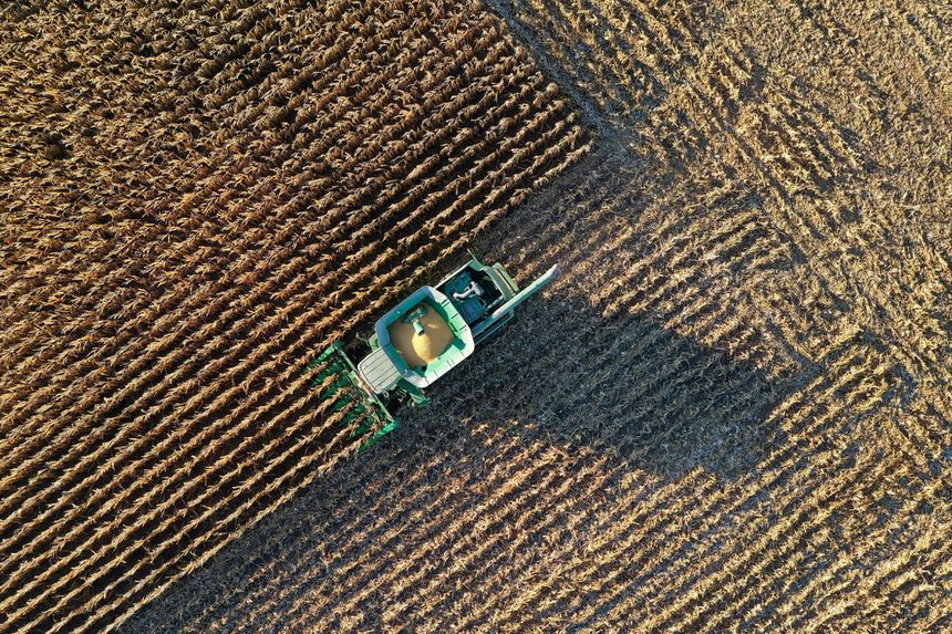 U.S. cropland values hit a record this year, and prices for new and used farm equipment have soared. Harvest photo by BING GUAN/REUTERS