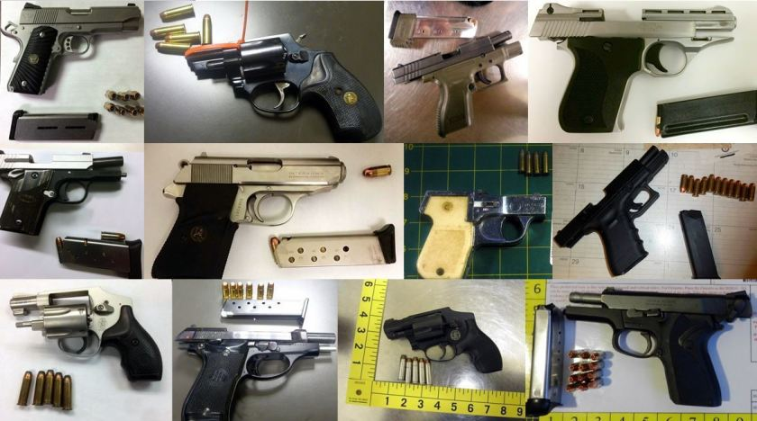 Firearms confiscated by the Transportation Security Administration at airports across the country. TSA photo