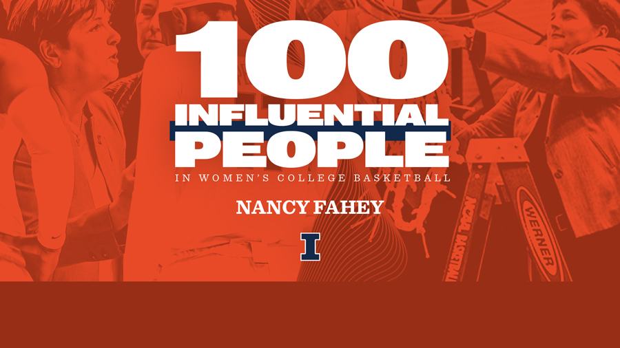 graphic using images of Women's Basketball Head Coach Nancy Fahey. Text is story headline.
