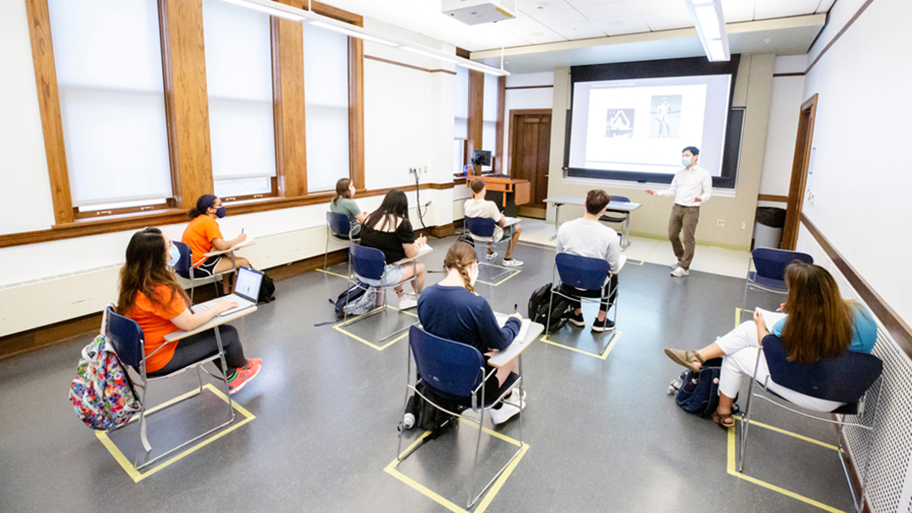 students sit in 'socially distanced' seats during a class at U of I. Photo by Brian Stauffer
