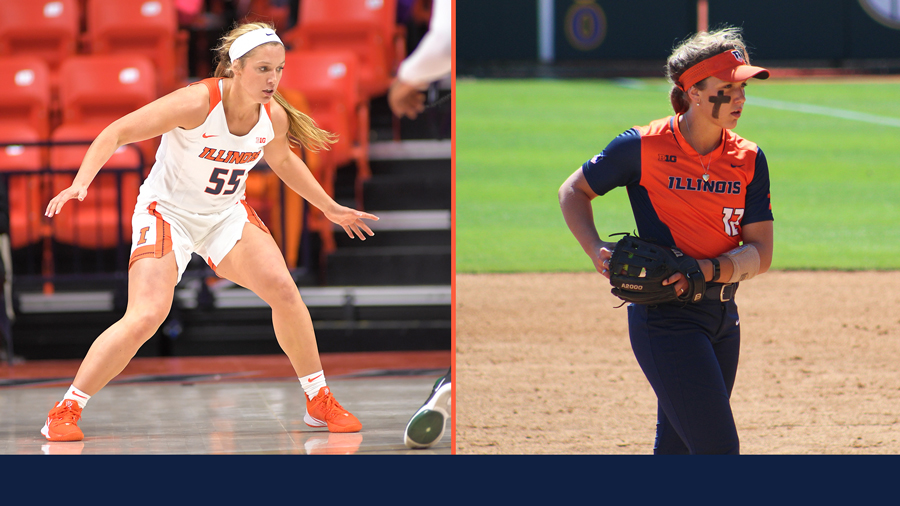 side-by-side images of Taylor Edwards in action as an Illini Basketball and Illini Softball player