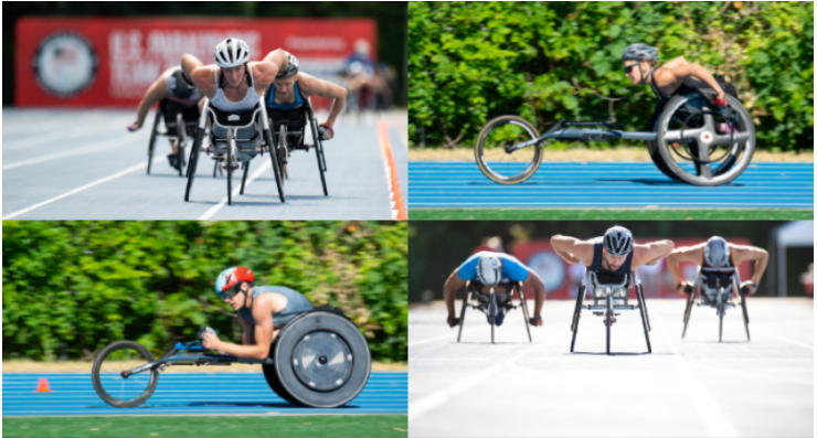 compsite of four images of Illini athletes competing