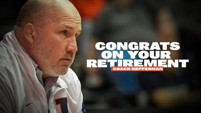 Illini Wrestling Coach Jim Heffernan with text, 'congratulations on your retirement'