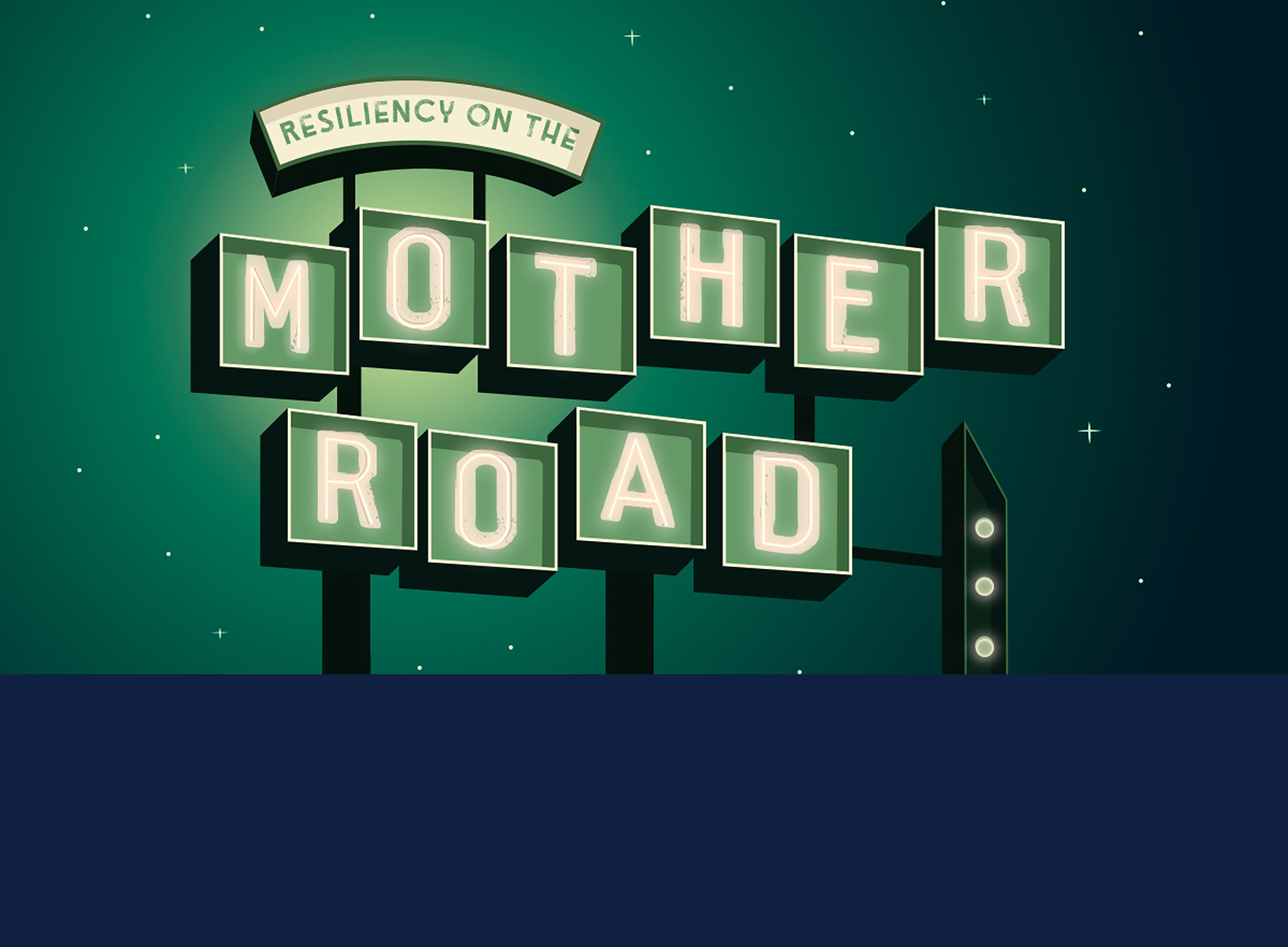 Graphic for story title, 'Resiliency on the MOther Road'