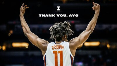View from behind Ayo Dosunmu as he raises his arms in celebration. Text says, 'Thank you, Ayo'