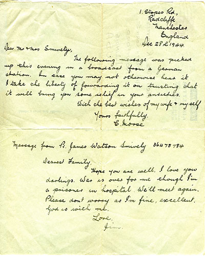 A letter from C. Mores of Manchester, England, let the Snively family know that their son, James, was still alive.