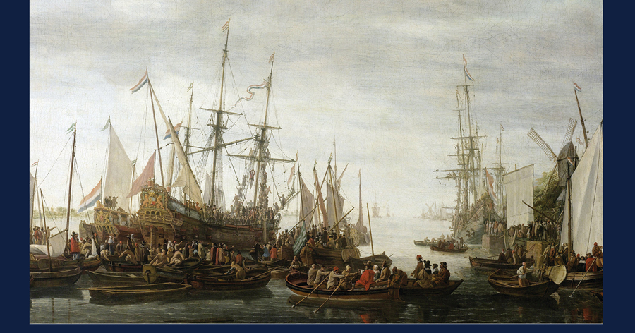 "painting of slave ships used on the cover of ""A German Barber-Surgeon in the Atlantic Slave Trade,"" published by the University of Virginia Press."