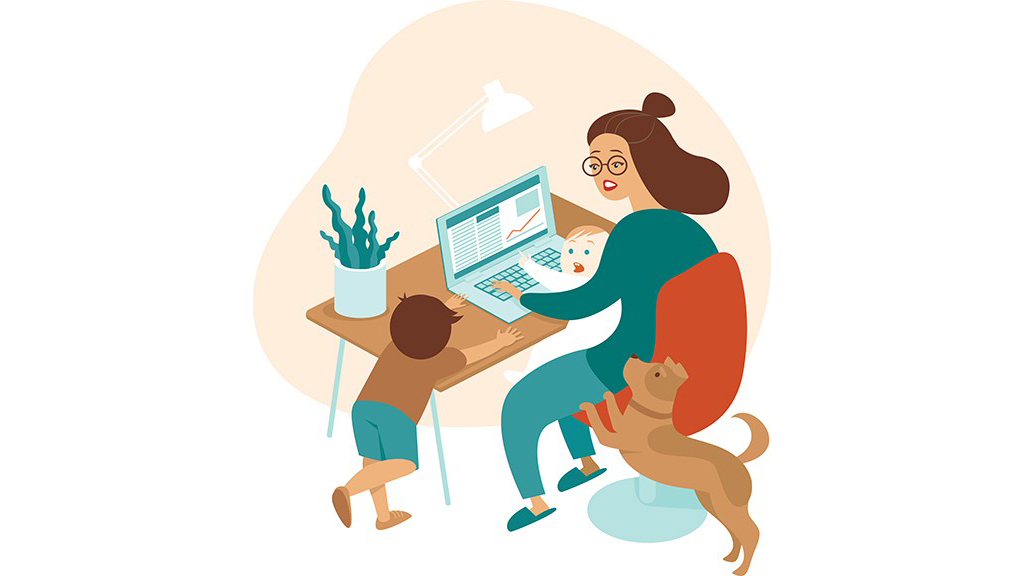 uncredited graphic showing mother being harassed by two children and a dog while working at a laptop