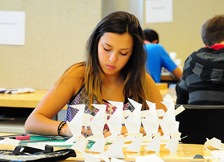 Christine Boenzi, of Frankfort, works on a screen wall exercise during the 2014 Discover Architecture program.
