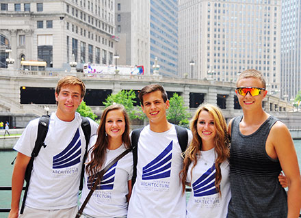 Students in the 2014 Discover Architecture program prepare for an architectural boat tour in Chicago. The students are William Boesen, of Glenview; Kristen Von Bampus, of Winfield; Samuel Eagleton, of Tulsa, Oklahoma; Georgina Kokalias, of Riverwoods; and Dustin Korbus, of Hoffman Estates.
