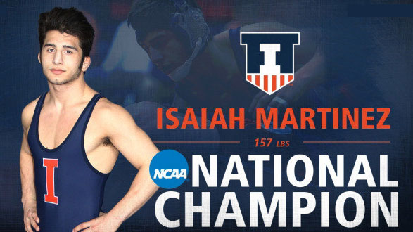 banner image of martinez as national champion wrestler