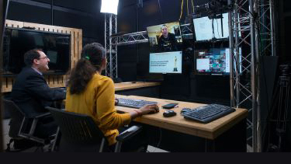control room for an online studio being used for a Gies Business class