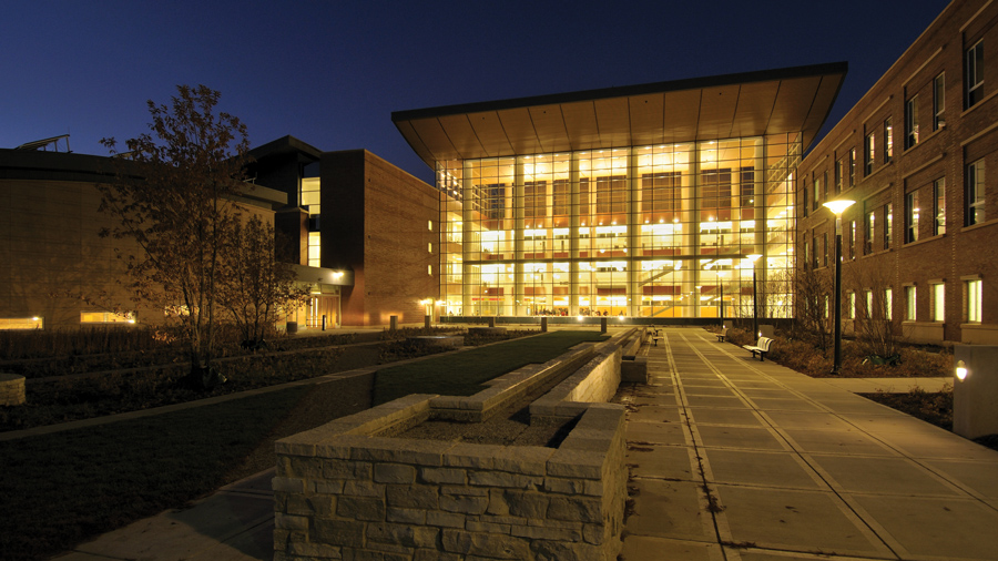 Business Instructional Facility (BIF) at night