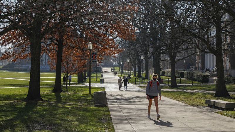 Students on the University of Illinois at Urbana-Champaign campus in December. (Jose M. Osorio / Chicago Tribune)