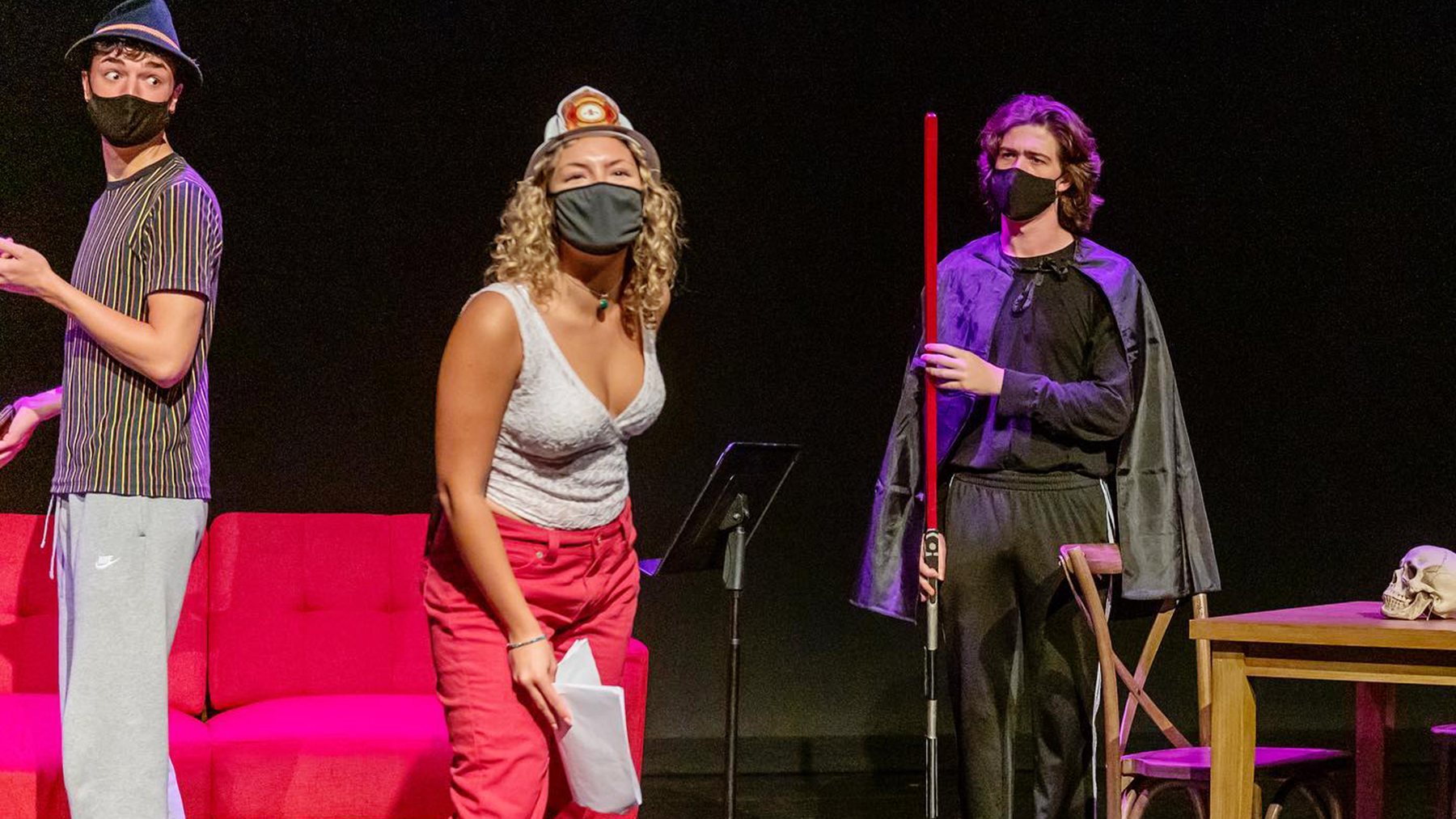 """Acting professor Nisi Sturgis (left) and theatre student Gabrielle DeMarcho perform in """"The 48,"""" an early-season workshop in which students cast, rehearsed and performed student-written plays in two days.  Photo by Darrell Hoemann"""