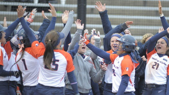 image of illini women celebrating their win over indiana