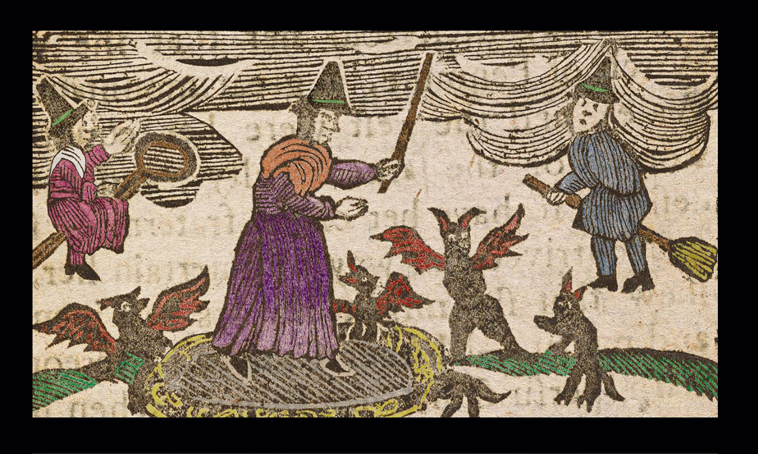 """Colored woodcut from """"The History of the Lancashire Witches,"""" ca. 1785.  Courtesy Rare Book and Manuscript Library"""