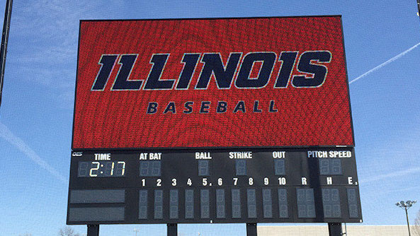 image of the new video board at illinois field
