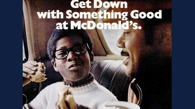 1970s-era McDonald's ad featuring African American dad and son