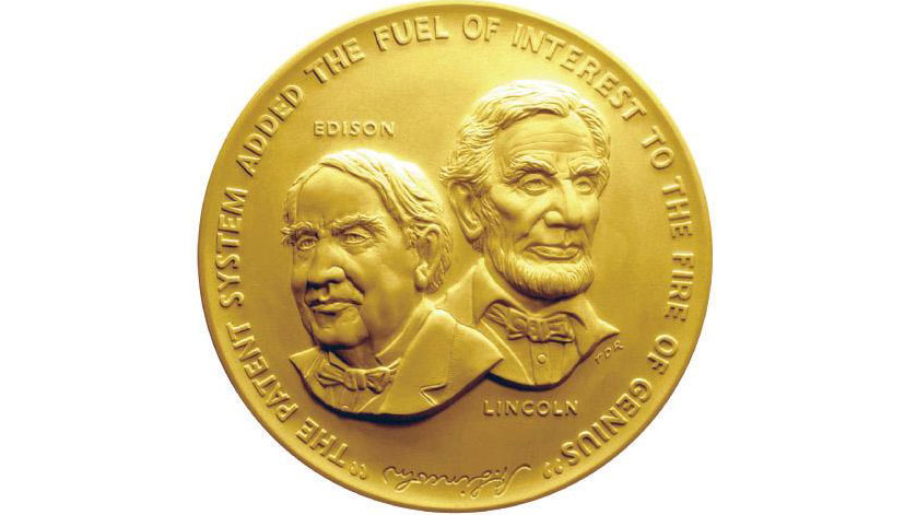 image of the medal given to national inventors hall of fame inductees