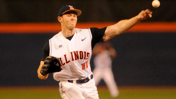 image of illini tyler jay pitching