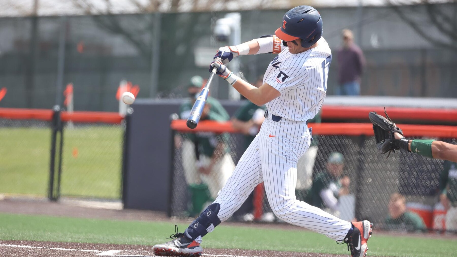 Infielder Justin Janas makes contact with a pitch
