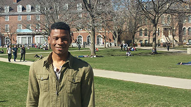 image of larry harris, jr., on the main quad at illinois