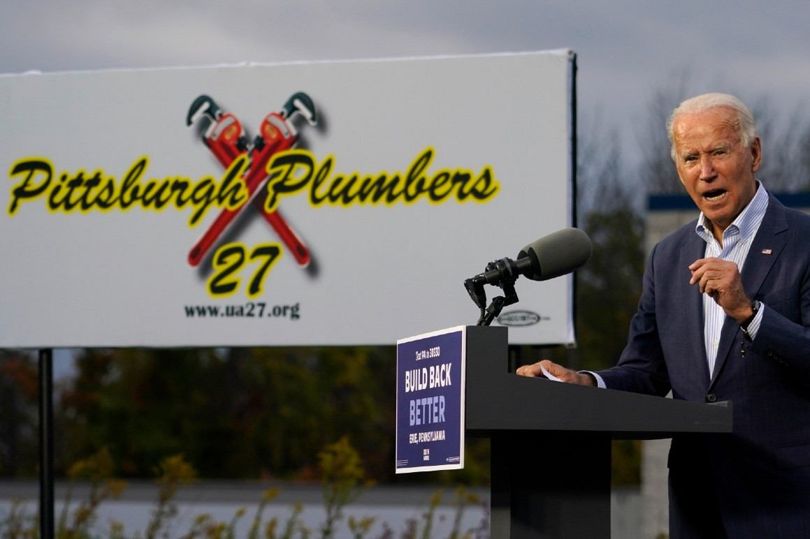 Joe Biden speaks at the Plumbers Local Union No. 27 training center in Erie, Pa., in October. | AP Photo/Carolyn Kaster
