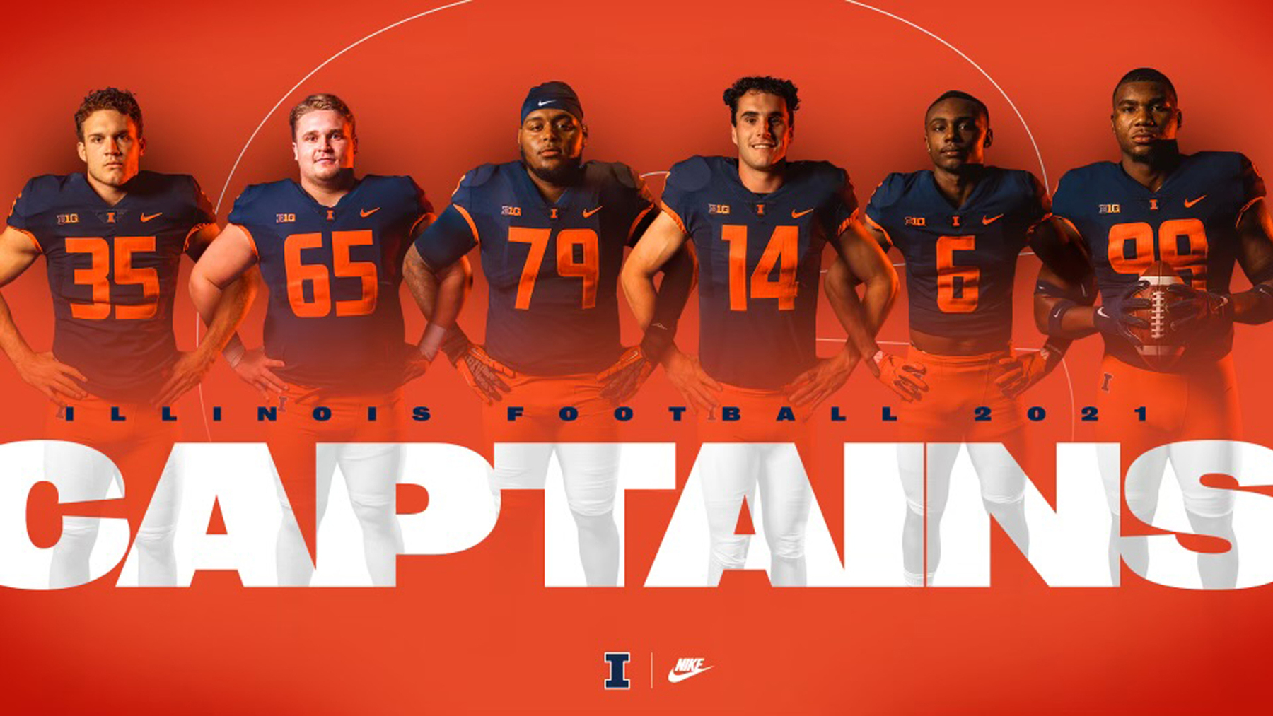 compiled image of the six team captains in uniform