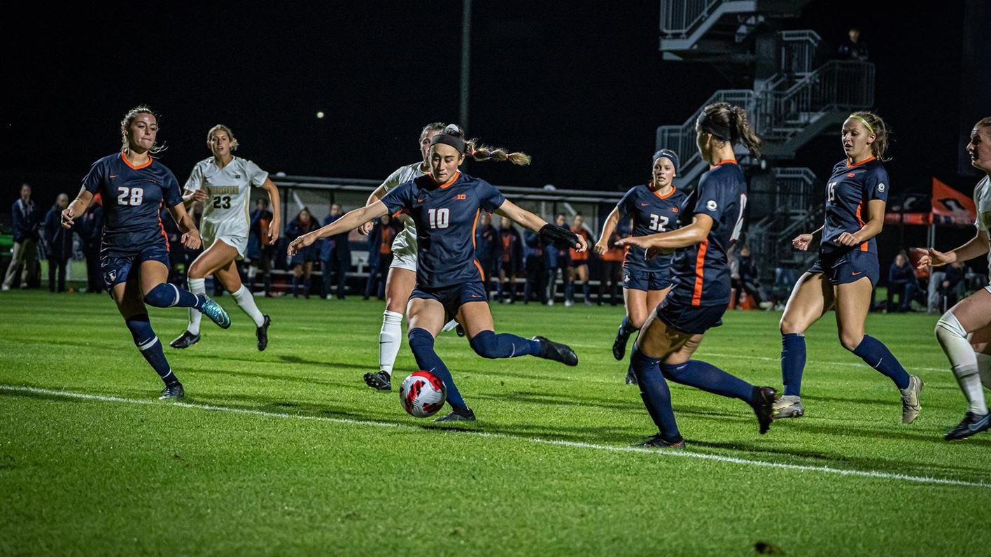 Illini Soccer moves the ball against Purdue in an earlier match.