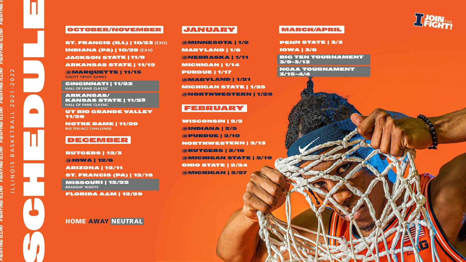 Graphic shows Fighting Illini Men's Basketball schedule for 2021-22