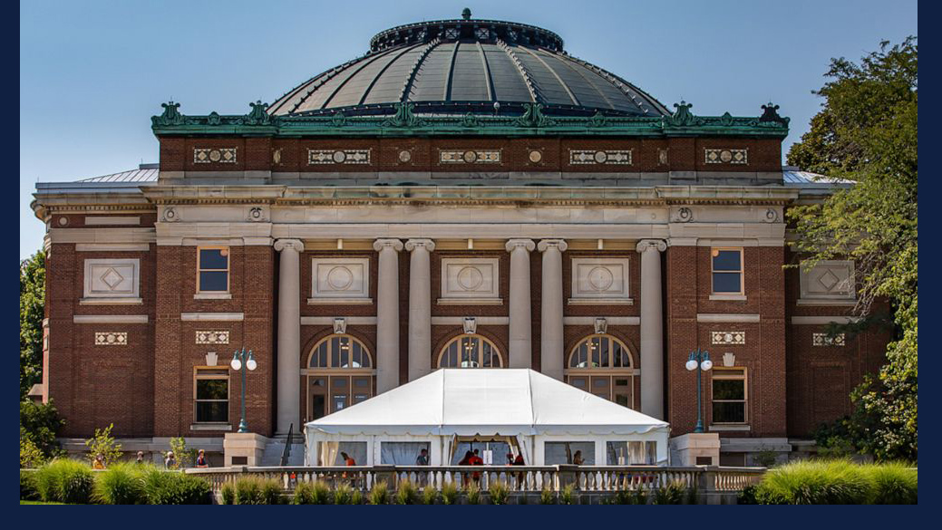 large outdoor tent for COVID testing at U of I. Photo by Fred Zwicky