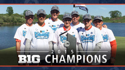 image of golf team with big ten trophy