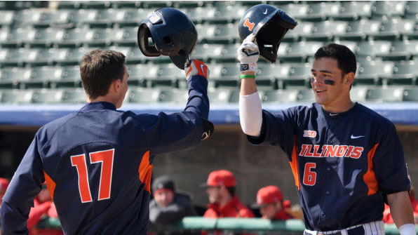 image of illini baseball players adam walton and matthew james