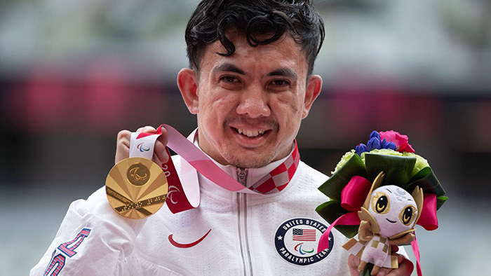 Raymond Martin with gold medal. Photo by Mark Reis, USOPC