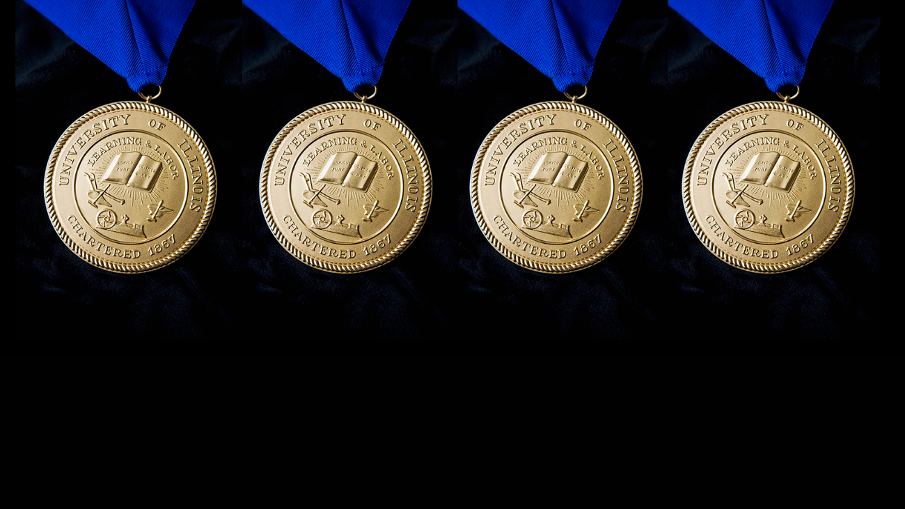 close up image of four presidential medallions