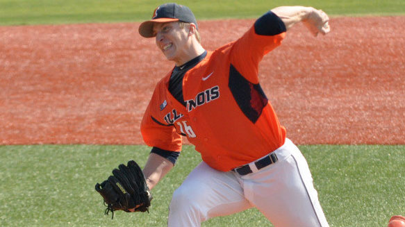 image of illini pitcher delivering the ball