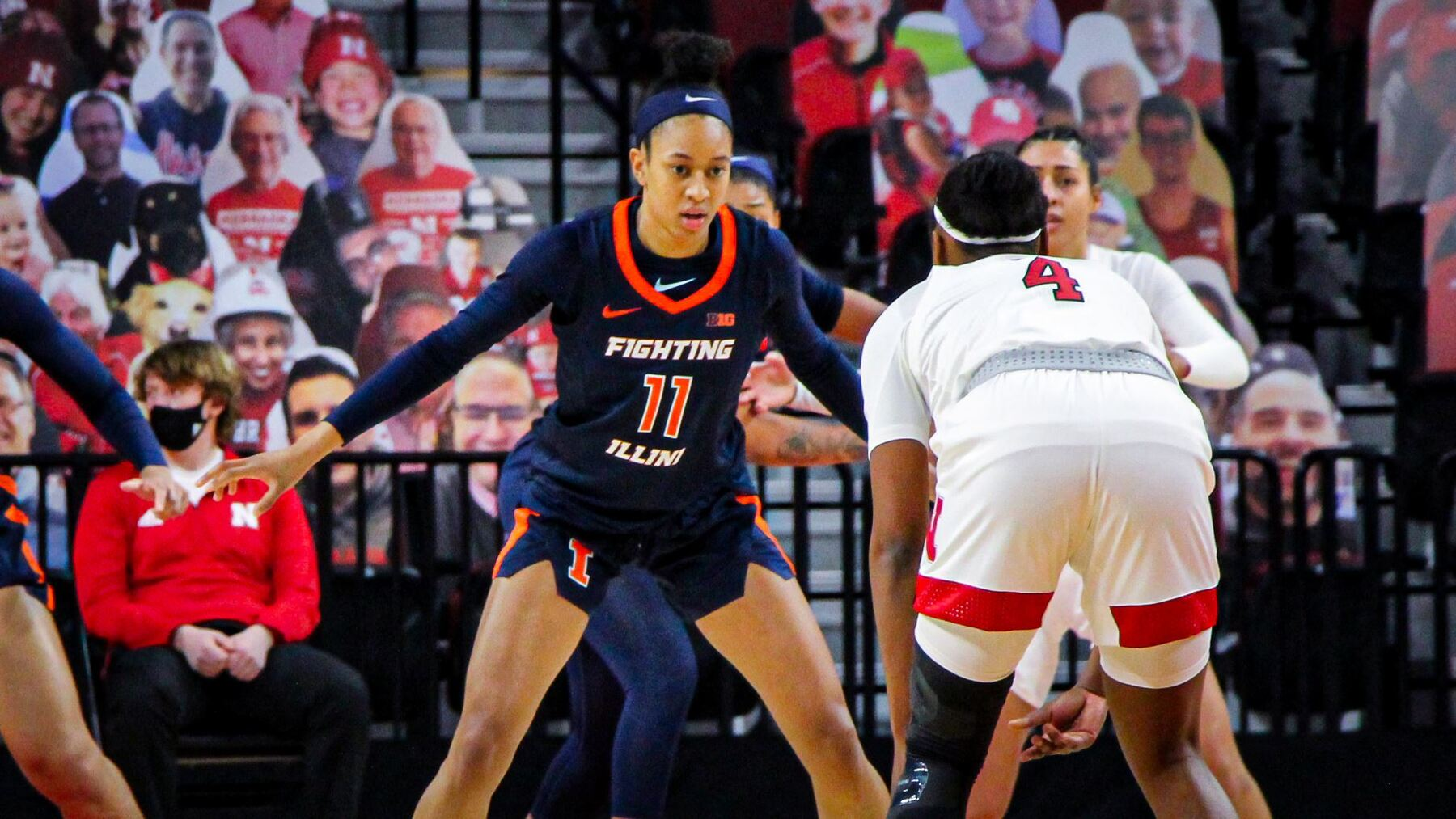 Guard Jada Peebles, who led the team with 16 points, on defense against Nebraska ball handler
