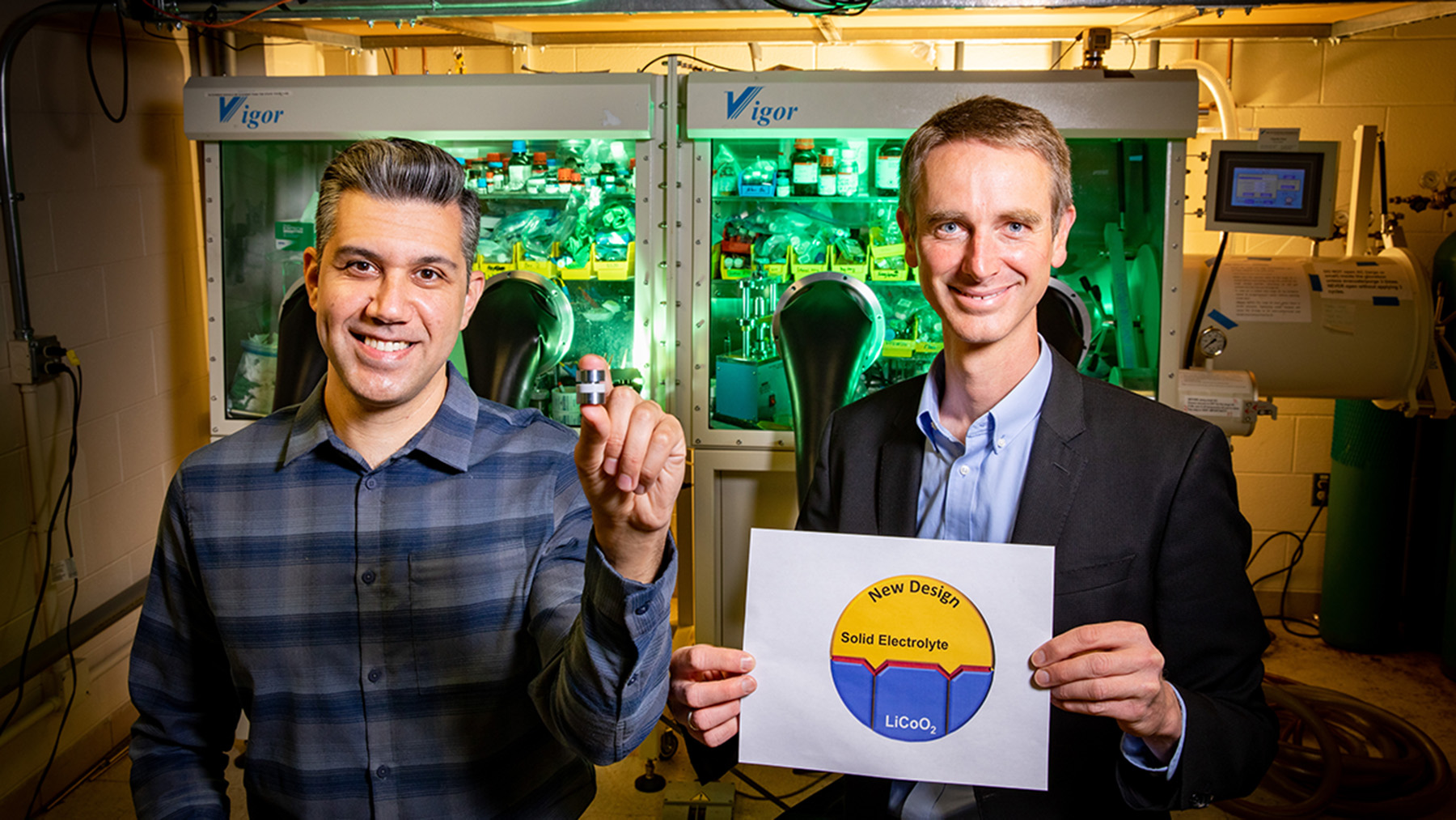 Materials science and engineering researchers Beniamin Zahiri, left, and Paul Braun led a team that developed new battery electrodes made of strategically arranged materials in an effort to drive better solid-state battery technologies. Photo by Fred Zwicky